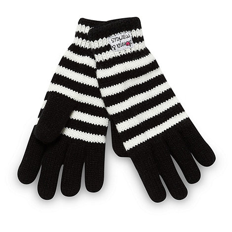 Donna & Markus by Markus Lupfer - Designer girl+s black striped gloves