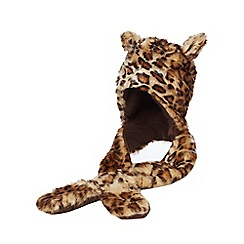 bluezoo - Girls' tan leopard print hat scarf