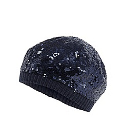 bluezoo - Girls' navy sequin beanie hat