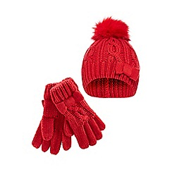 J by Jasper Conran - Girls' red cable knit beanie hat and gloves set