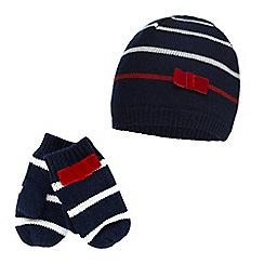 J by Jasper Conran - Girls' navy striped bow applique beanie and mittens set with wool