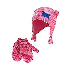 Peppa Pig - Girls' pink 'Peppa Pig' trapper hat and mittens set