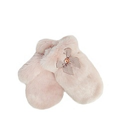 Baker by Ted Baker - Girls' pink faux fur mittens