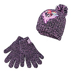 My Little Pony - Girls' purple knitted beanie and gloves set