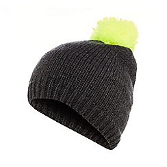 bluezoo - Boys' dark grey 'smile' pom-pom beanie hat