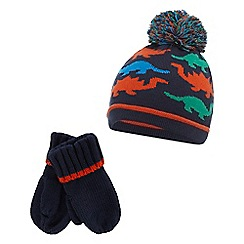 bluezoo - Boys' navy dinosaur hat and mittens set