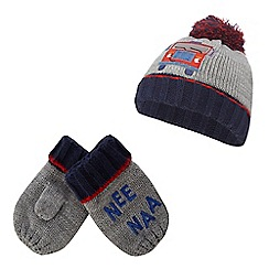 bluezoo - Boys' multi-coloured fire engine applique beanie and mittens set