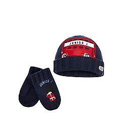 J by Jasper Conran - Boys' navy bus applique beanie and mittens set