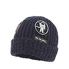 bluezoo - Boys' navy ribbed space applique beanie hat