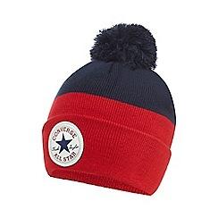 Converse - Boys' red colour block beanie hat
