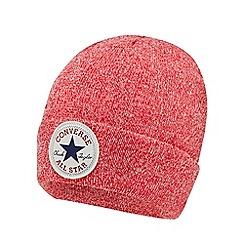 Converse - Children's red marl logo applique beanie hat