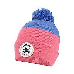 Converse - Girls' pink colour block beanie hat