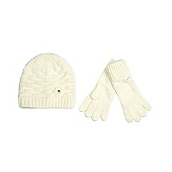 RJR.John Rocha - Designer girl's off white knitted hat and gloves set