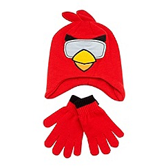 Angry Birds - Boy's red 'Angry Birds' knitted hat and gloves set