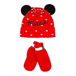 Minnie Mouse - Girl's red 'Minnie Mouse' knitted hat and mittens set