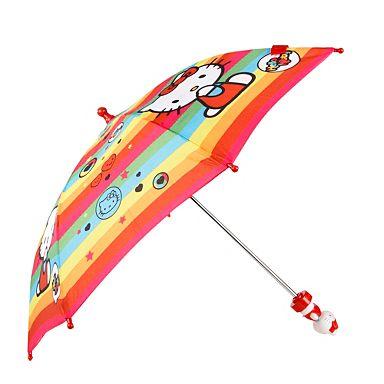 Girl's pink stripey Hello Kitty umbrella