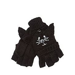 bluezoo - Girl's black cat knitted mittens