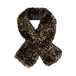 bluezoo - Girl's brown animal faux fur scarf