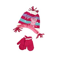 Peppa Pig - Girl's pink 'Peppa Pig' hat and mittens set