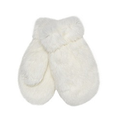 J by Jasper Conran - Designer girl's off white faux fur mittens