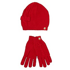 J by Jasper Conran - Designer girl's red cable knit hat and gloves set