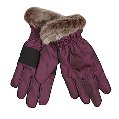 Baker by Ted Baker - Girl's plum quilted cuffed gloves