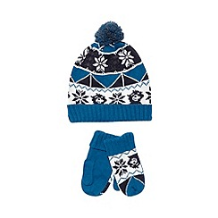 bluezoo - Boy's blue fairisle knit hat and mittens set