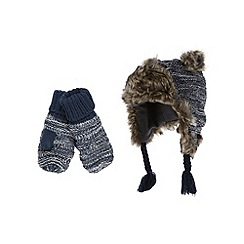 RJR.John Rocha - Designer boy's green faux fur bear trapper hat and mittens set