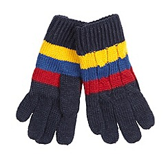 J by Jasper Conran - Designer boy's navy striped cable knitted gloves