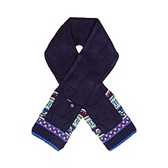 Baker by Ted Baker - Boy's navy fairisle knitted 2-in-1 scarf and mittens