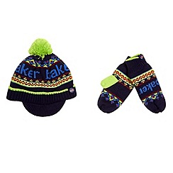 Baker by Ted Baker - Boy's navy knitted beanie and mittens set