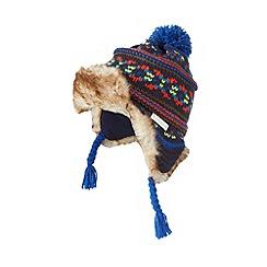 RJR.John Rocha - Designer boy's navy chunky knit fairisle trapper hat
