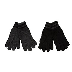 bluezoo - Pack of two boy's black striped gloves