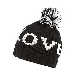 bluezoo - Girl's black 'Love' bobble hat