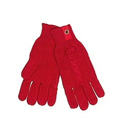 J by Jasper Conran - Designer girl's red cable knit gloves