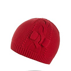 J by Jasper Conran - Designer girl's red cable knit beanie hat