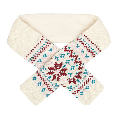 bluezoo - Girl+s cream Fair Isle knitted scarf