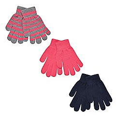 bluezoo - Pack of three girl's pink plain and striped gloves