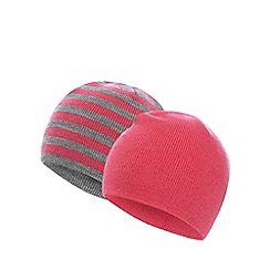 bluezoo - Pack of two girl's pink plain and striped beanie hats
