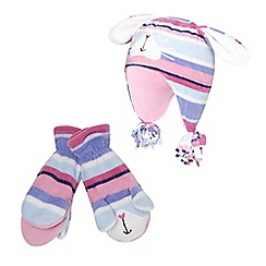 bluezoo - Girl's pink fleece bunny hat and mittens set