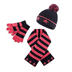 bluezoo - Girl's pink striped hat, scarf and gloves set