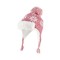 bluezoo - Girl's pink fairisle trapper hat