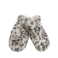 bluezoo - Girls' grey faux fur animal mittens