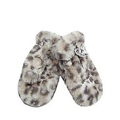 bluezoo - Girls' grey faux fur animal mittens
