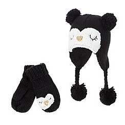 bluezoo - Girls' black penguin trapper hat and mittens set