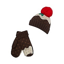 bluezoo - Girls' brown Christmas pudding hat and mittens set