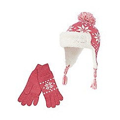bluezoo - Girls' pink Fair Isle hat and gloves set