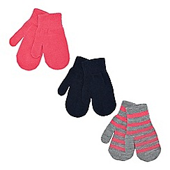 bluezoo - Pack of three girl's pink plain and striped mittens