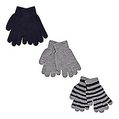 bluezoo - Pack of three boy's navy plain and striped gloves