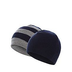 bluezoo - Pack of two boy's navy plain and striped beanie hats